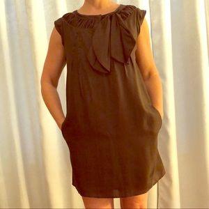SEE by CHLOE Dress 100% Silk Tunic Brown Bow